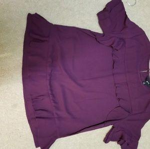Purple Ruffle Blouse NWOT